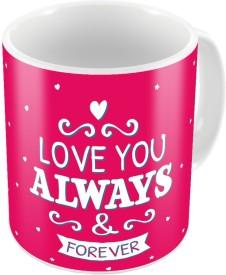 Little India Pink Designer Romantic Printed Coffee s Pair 679 Ceramic Mug