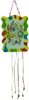 Smartcraft Happy Birthday -Stripes Pull String Pinata (Multicolor, Pack Of 1)