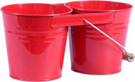 Mango Orchard Twin Bucket With Wire Handle (Red) Plant Container