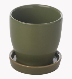 Gaia Pottery Gaia Green Cermaic Glazed Table Top Planter Plant Container