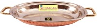 SSA S/C Platter No 2 With Brass Handle Hammered Copper Tray (Brown, Pack Of 1)