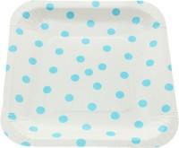 Funcart Polka Dot Square Printed Paper Plate Set (Blue, Pack Of 12)