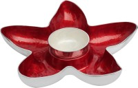 Metlish Enamelled Red Star With Dip Bowl Solid Aluminium Dish Set (Red, Pack Of 2)