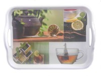 Cda Handle Tray Printed Melamine Tray Set (Multicolor, Pack Of 2)