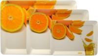 Superware All Drink Orange Printed Melamine Tray Set (White, Orange, Pack Of 3)