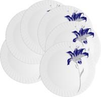 Mehul 13 Inch D-2023 Magnetic Dish Rajeshwari 6 Pcs Printed Melamine Plate Set (White, Pack Of 6)