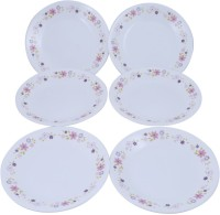 Corelle Floral Fanatsy Small Printed Glass Plate Set (White, Pink, Pack Of 6)