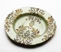 Foyer GLPLAG101563 Embossed Glass Plate - Green, Gold, Pack Of 1