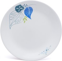 Corelle India Collection Foliage Small Printed Glass Plate Set (White, Blue, Pack Of 6)
