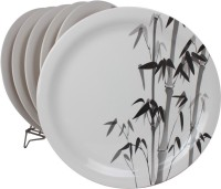 White Gold Bamboo Printed Melamine Plate Set (White, Pack Of 6) - PTDE7RWGA9GFXDJK