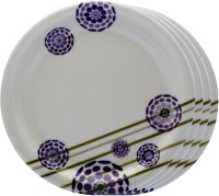 Superwear Lucky Lavender Printed Melamine Plate Set (White, Purple, Pack Of 4)