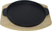 Gran SIZZLER TRAY WITH WOODEN BASE Solid Wood, Iron Tray (Brown, Black) - PTDEMFHGKVYWGG3Q