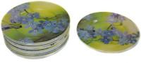 Wood & Kemp Smart Dinning 6inch 12pc Snacks Saucer Printed Melamine Plate Set (Green, Pack Of 12)