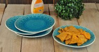 Buono Casa Eudora Embossed Snacks Plate Set Of 4 -Blue Embossed Porcelain Plate Set (Blue, Pack Of 4)