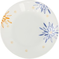 Corelle Carnival Printed Glass Plate Set (White, Orange, Pack Of 6)