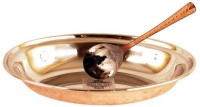 IndianArtVilla Platter With Spoon Solid Stainless Steel, Copper Dish Set (Brown, Silver, Pack Of 2)