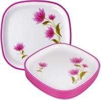 Nayasa Flower Printed Plastic Plate Set (White, Pink, Pack Of 6)