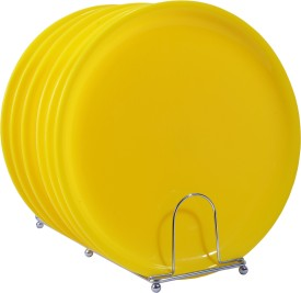 Deseo Round Dinner Plate Acrylic, Yellow, Set of 6 Solid Plastic Plate Set