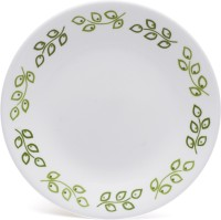 Corelle India Impressions Neo Leaf Dinner Printed Glass Plate Set (White, Green, Pack Of 6)