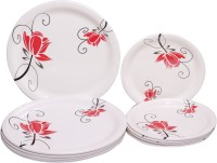 Onex Floral Trendy Combo Dinner And Snacks Printed Melamine Plate Set (Red, White, Pack Of 12)