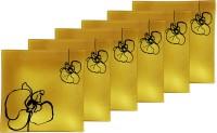 Tuelip Snacks Plate Printed Glass Plate Set (Gold, Pack Of 6) - PTDE3QD5NCHKBJHZ