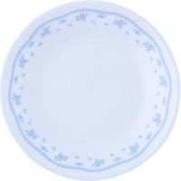 Corelle Essential Series Morning Small Printed Glass Plate Set (White, Blue, Pack Of 6)