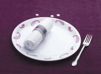 Corelle India Collection Paisley 6 Pcs Small Printed Glass Plate Set (White, Purple, Pack Of 6)
