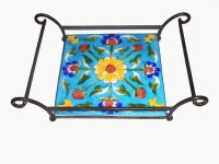 Fab Store Solid Iron, Ceramic Tray (Blue, Yellow, Green, Pack Of 1)
