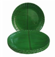 Blue Berry Melamine Dinner Plates (Set Of 6) -Traditional Banana Leaf Design(Dia - 25cm) Solid Melamine Plate Set (Green, Pack Of 6)