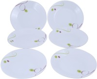 Corelle Royal Sequins Small Printed Glass Plate Set (White, Green, Pack Of 6)