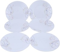 Corelle Dance Small Printed Glass Plate Set (White, Purple, Pack Of 6)