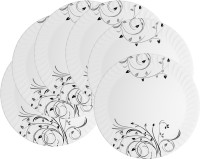Mehul 13 Inch D-201 Magnetic Black Beauty 6 Pcs Printed Melamine Plate Set (White, Pack Of 6)