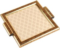 Aaina Home Decor Ethnic Embossed Wood, Glass Tray Set (Gold, Beige, Pack Of 1) - PTDEGTRQMDGZHRNK