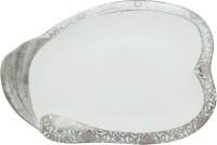 Addox White Plate Cum Tray Printed Bone China Plate (White, Pack Of 1)