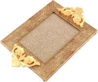 Aaina Home Decor Ethnic Embossed Wood, Glass Tray Set (Gold, Beige, Pack Of 1)
