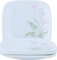 Corelle Lily Ville,Square Round Asia Printed Glass Plate Set (White, Pink, Pack Of 6)