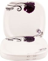 Onex Snacks Floral Printed Melamine Half Plate Printed Melamine Plate Set (Purple, White, Pack Of 6)