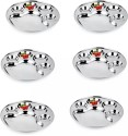Dezinox 5 In 1 Bhojan Thal / Partition Round S/6 Solid Stainless Steel Plate Set - Steel, Pack Of 6