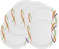 Mehul 13 Inch D-951 Sonata Dish Pratap 6 Pcs Printed Melamine Plate Set (White, Pack Of 6)