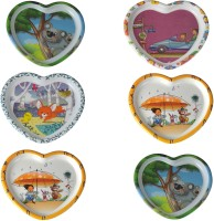 Recon Melamine Plate Set - 6 Pcs (Heart Shape) Solid Melamine Plate (Multicolor, Pack Of 6)