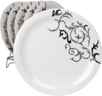 White Gold Trendy Printed Melamine Plate Set (White, Pack Of 6)