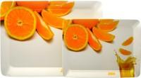 Superware All Drink Orange Printed Melamine Tray Set (White, Orange, Pack Of 2)