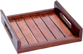 Hashcart Sheesham Kitchen Serving (10x10) inches Solid Wood Tray