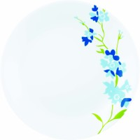 Corelle India Collection Blue Blossom 6 Pcs Dinner Printed Glass Plate Set (White, Blue, Pack Of 6)