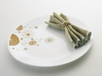 Corelle India Collection Elite Dinner Printed Glass Plate Set (White, Beige, Pack Of 6)