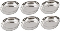 Ndura Brunch Plate 04 Solid Stainless Steel Plate Set (Silver, Pack Of 12)