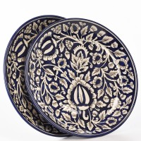 Cultural Concepts Mughal Printed Ceramic Plate Set (White, Blue, Pack Of 2)