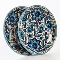Cultural Concepts Morrocon Printed Ceramic Plate Set (White, Blue, Pack Of 2)