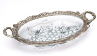Naysha White Metal Glass Grapes Design Solid Aluminium Tray (Silver, Pack Of 1)