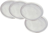 Thw 11 Inches Aluminum Perforated Pizza Coupe Tray For Thin Crust Pizzas Solid Aluminium Tray Set (Silver, Pack Of 4)